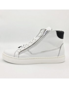 Sneakers alta con zip bianca
