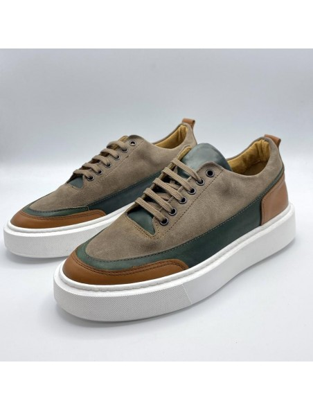 Sneakers cru green beige tortora